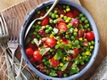 Warm pea, corn and chorizo salad
