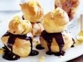 Almond praline profiterole stack
