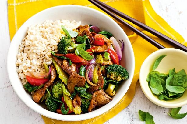 Pepper pork, vegetable and basil stir-fry