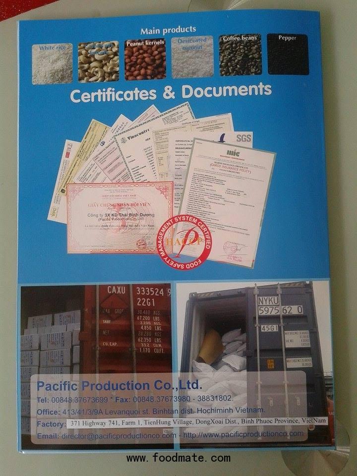 HACCP code: 2003: HA.002.15.10, GMP, ISO standard