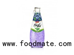 Fruit Juice Basil Seed Drink Blueberry Flavour In Glass Bottle