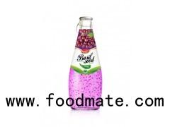 Fruit Juice Basil Seed Drink Grape Flavour In Glass Bottle