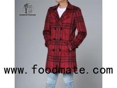 Men Grid Overcoat