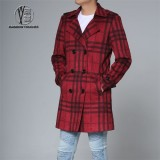 Men Grid Overcoat