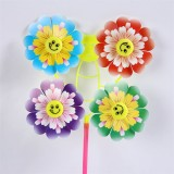 Four Wheels Smiling Face Peony Colorful Outdoor Garden Advertising Windmill Plastic Party Wedding Pa