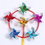 Six Wheels Four Corners Wedding Festival Party Decoration Ornament Plastic Outdoor Windmill Mylar Pi