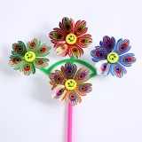 Seven Wheels Big Flowers Wedding Festival Party Decoration Ornament Plastic Outdoor Windmill Mylar P