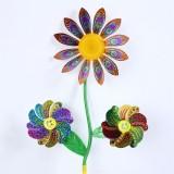 New Design Laser Sunflower Wedding Festival Party Decoration Ornament Plastic Outdoor Windmill Mylar
