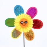 Eight Pieces Smiling Face Wedding Festival Party Decoration Ornament Plastic Outdoor Windmill Mylar