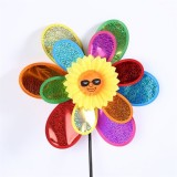 Dual Glittering Smiling Face Wedding Festival Party Decoration Ornament Plastic Outdoor Windmill Myl
