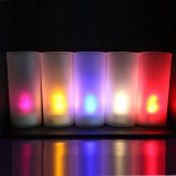 Plastic Pillar Candle Holder With LED Tea Light Candles For Church