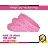 1/2inch No Minimum Engraved Pink And Rainbow Rubber Bracelets With Message For Birthday Party