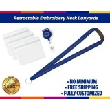 Retractable Plastic Name Badge Holder Embroidery Neck Lanyards With Bulldog Clip