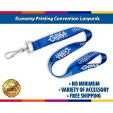 Economy Plastic Clips Convention Lanyards With Badge Reels Printing With No Minimum