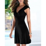 Crossover Ruched Swing Dress With Cap Sleeve Plunging Neck Fit And Flare Dress