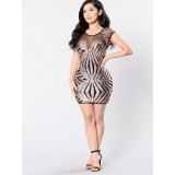 Sequin Patterned Mesh Bodycon Dresses Short Sleeve Club Party Dresses