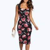 Scoop Neck Garden Floral Midi Dress Sleeveless Cut Out Back Pencil Dress