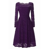 Vintage Style Floral Lace Swing Dress With Long Sleeve Boat Neck For Cocktail Party