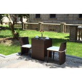 Brown Cube Table PE Rattan Dining Set,coffee Table And Chair,Space Saving