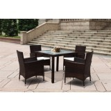 Cube Table Wicker Dining Set,UV Resistant,5 Pcs,Best Selling