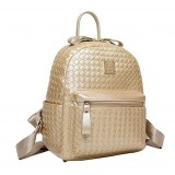 Fashion Gold Top Openning Weave Backpack