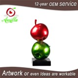 Large Sculpture Resin Double Red Green Apples Statues For Home Ornaments