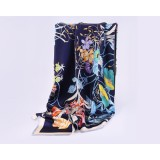 Fashion Large Square Silk Infinity Scarf For Women Crepe Satin Printing Hair Scarf