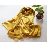 Red Long Pure 100% Silk Scarf For Ladies Satin Solid Color Shawl