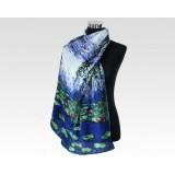 Ladies Blue Silk Skinny Chiffon Crepe De Chine Scarf For Christmas Day Gift