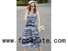 Spaghetti Strap Print Casual Summer Maxi Dress With Waist String