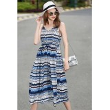 Spaghetti Strap Print Casual Summer Maxi Dress With Waist String