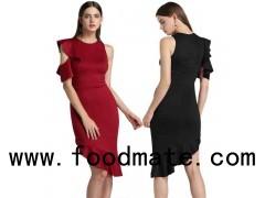 Womens Asymmetrial Hem Ruffle Dresses
