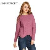 Latest Braids Pattern Knitted Jumper Sweater Bulky New Design Long Sleeve Waving Bottom