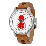 Cool Car Racing Brown Leather Strap Wrist Big Dial Steel Mens Watch