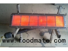 Ceramic infrared gas heater for food processing and manufacturing