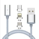 Micro/Iphone/Type C connectors 3 in 1 magnetic data charging cable with four colors to choose