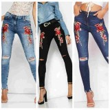 Embroidery Floral Ripped Knee Jeans