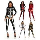 Sexy Womens Skull Costume Skeleton Jumpsuits With Garters Halloween Fancy Dress