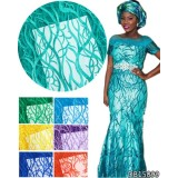 Teal Green African Fabrics Tulle Lace Fabric