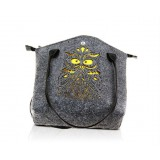 Felt Shoulder Tote Shopping Bag With PU Leather