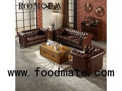 Vintage Brown Leather Chesterfield Sofa
